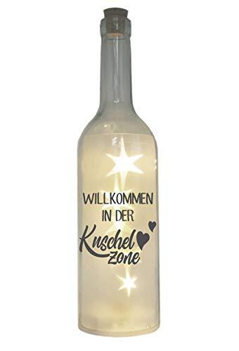 LED-Flasche mit Motiv, Willkommen in der Kuschelzone, grau, 29cm, Flaschen-Licht Lampe mit Text Spruch