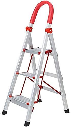 XIAOYU Multipurpose3   4 Step Ladder, Family Stepladder Rinforzo Scala Antiscivolo in Lega di Alluminio Rack di stoccaggio Livello di carico 300 kg Bianco, Arancione, 39 * 52 * 108 cm (Colore: