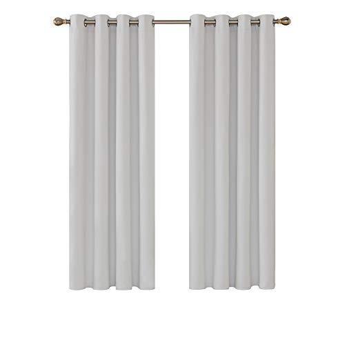 Deconovo Verdunkelungsgardinen mit Ösen Vorhang Blickdicht Ösenvorhang Blickdicht 160x132 cm Weiß Grau 2er Set