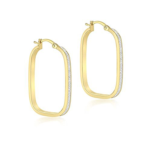 Carissima Gold Women's 9 ct Yellow Gold Stardust Rounded Rectangle Earrings