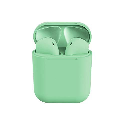 ECOUTEZ Auricolari senza fili Bluetooth 5.0 Impermeabili Auto Pairing Ergonomiche Compatibilità Universale disponibili nei Colori Verde acqua, Rosa Pesca, Bianco Lucido, Nero profondo (Verde acqua)