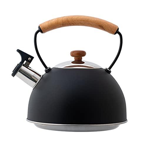 Hervidor de agua con silbato de acero inoxidable de 3 L, con silbato y mango de madera resistente al calor, para cocinas de inducción, cocinas de gas, estufas de leña, gas o camping