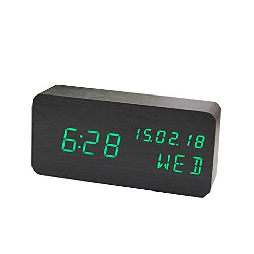 Despertador de Madera Digital Reloj de Madera Moderno con Repetición Tiempo Temperatura Humedad 3 Configuraciones de Alarma Brillos Ajustables de 3 Niveles Ppara el Hogar, Dormitorio, Oficina