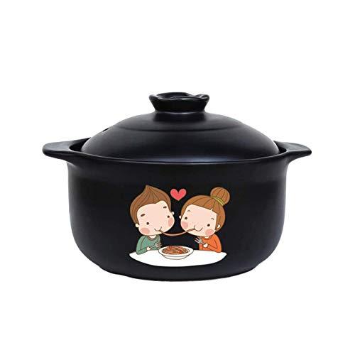 HIZLJJ Cartoon-Muster Ceramic Round Black Dish Casserole/Tontopf/Tontopf/Keramik-Kochgeschirr mit Deckel Hitzebeständige Multifunktions Praktische Antiverbrühschutz Hitzebeständige Bratentopf