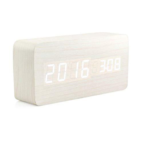 WXZQ Reloj Despertador Digital de Madera Creativo Reloj Despertador LED Multifuncional Elegante con Fuente de alimentación USB Control de Voz Madera Blanca