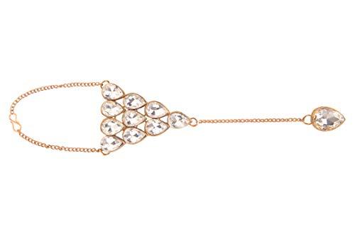 Efulgenz Gypsy Boho, vergoldet, Kristall, Fingerring, Gliederkette, Armband, Handgeschirr, Sklaven-Armreif Schmuck