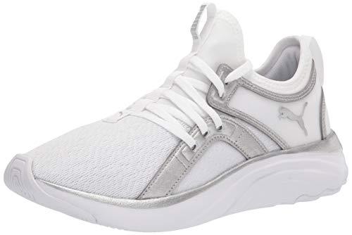 PUMA Women's 19509302 Running Shoe, White-Metallic Silver, 9