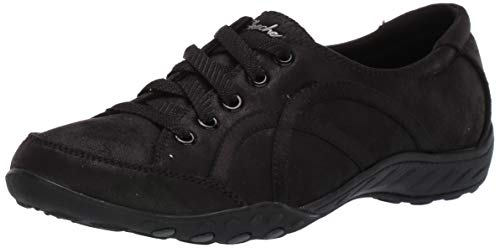 Skechers Breathe-Easy-Well Read, Zapatillas sin Cordones Mujer, Negro (BLK Black Microleather/Trim), 38 EU
