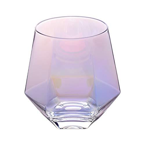 WUCHENG Kreative Farbe Frosted Sechs seitige Whisky Gire Girits Glas Home Phnom Penh Wasser Glas Saft Tasse Diamantglas Weinglas (Color : 3)