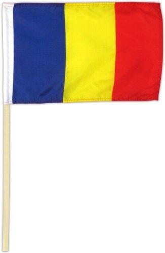 Fahne Flagge Rumänien 30 x 45 cm mit Stab