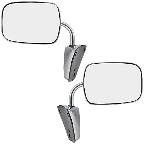 Replacement Set Manual Side Door Stainless Steel Low Mount Mirrors Compatible with 1973-1991 C/K/R/V Pickup Truck SUV 996220
