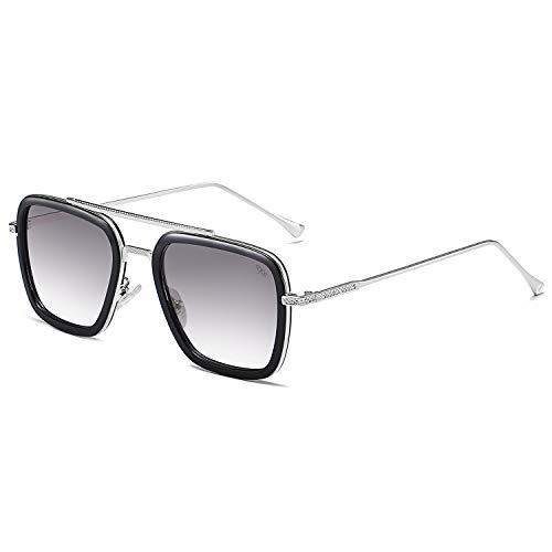 SOJOS Polarisiert Sonnenbrille Retro Rechteckig Piloten Sonnenbrille Herren Damen Tony Stark HERO SJ1126 mit silbernem Rahmen/schwarzem Rand/grau verlaufendem Glas