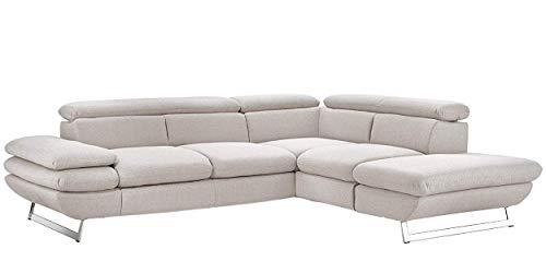 Mivano Ecksofa Prestige, Moderne Couch in L-Form mit Ottomane, Kopfteile und Armteil verstellbar, 265 x 74 x 223, Strukturstoff, beige