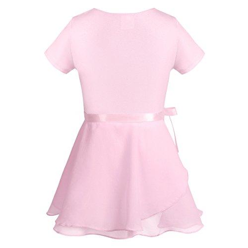 iEFiEL Kids Girls Short Sleeves Ballet Tutu Dress Gymnastics Leotard Dance Bodysuit with Chiffon Wrap Skirt Set Pink 2-3 Years