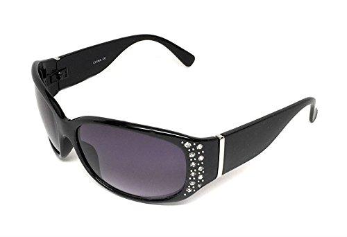 My Shades - Women's Sunglasses Designer Inspired Fashion Rhinestone Style Embellishments Wrap Around (Black, Gradient Smoke)