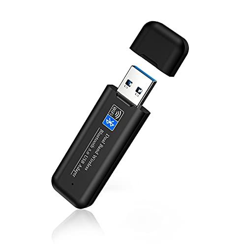 2in1 無線LAN 子機 Wi-Fi Bluetooth5.0アダプター usb wifi 1300Mbps USB3.0アダプタ ブルートゥース子機 デュアルバンド2.4g+5G 5dBi超高速通信 802.11ac/a/b/g/n技術 低遅延対応 Windows/Mac OS X/Linux対応