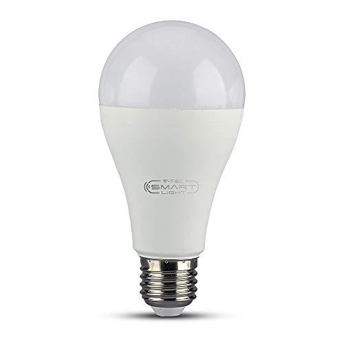 V-TAC VT-5117, Lampadina LED E27 15W A65 Compatibile con Google Home e Amazon Alexa Tramite App V-Tac Smart RGB e 3 in 1 Dimmerabile