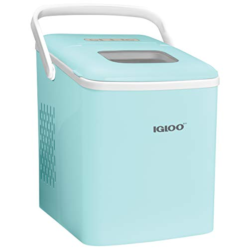 Igloo ICEB26HNAQ Automatic Self-Cleaning Portable Electric Countertop Ice Maker Machine With Handle, 26 Pounds in 24 Hours, 9 Ice Cubes Ready in 7 minutes, With Ice Scoop and Basket, Aqua