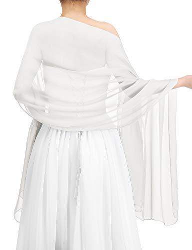 Bbonlinedress Schal Chiffon Stola Scarves in verschiedenen Farben White 190cmX70cm