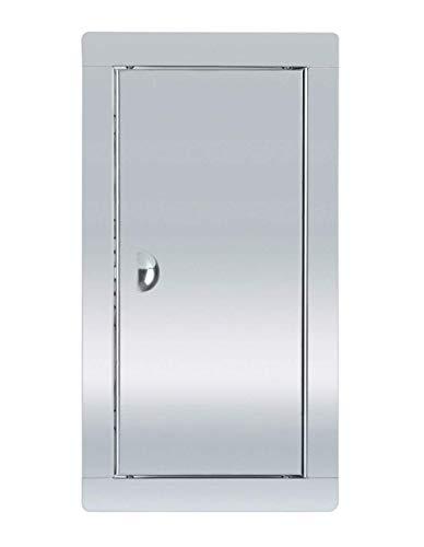 ADGO Revisionstür, Edelstahl, mit Riegel, 15 x 30 cm, Metall Silber, zum Abdecken des Gehäuses, Löcher in der Wand, 1 Stück