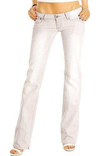bestyledberlin Damen Boot-Cut Jeans, Stylische Damenjeans, Hüftjeans j37a-grau 42/XL