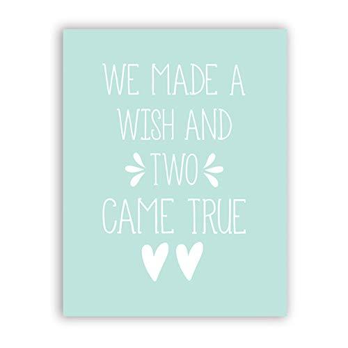 Zwillingszitate Leinwand Kunstdrucke die wir Uns wünschten Zwei echte Zwillinge Baby Geschenk Wandkunst Foto Zwillingszimmer 40x50cm