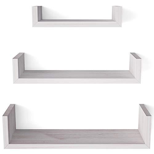 SRIWATANA Floating Shelves Wall Mounted, Rustic Wall Shelves for Bedroom, Bathroom, Living Room, Kitchen Set of 3 (Carbonized Black)