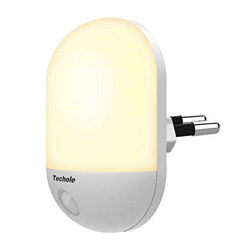 Luce Notturna LED, Techole Automatiche Luce Notturna Bambini con Sensore Crepuscolare, Plug-and-Play, Luce Notturna per Vivai, Soggiorno, Corridoi, Bagno, Cucina, Scale - Caldo Giallo