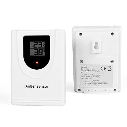 TECVANCE Sensor de Exterior para Estación Meteorológica Digital – Indicación Transmisor – Incl. Batería, Blanco, 4,7 x 2,7 x 9,4 cm