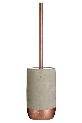 Premier Housewares Neptune WC-Bürste mit Halter, Beton/Kupfer, Kunststoff, Edelstahl, Grau, 10 x 10 x 39 cm