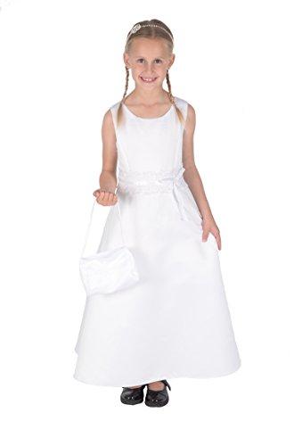 Cinda Mädchen Brautjungfer/Heilige Kommunion Kleid weiß mit Handtasche 158(16)