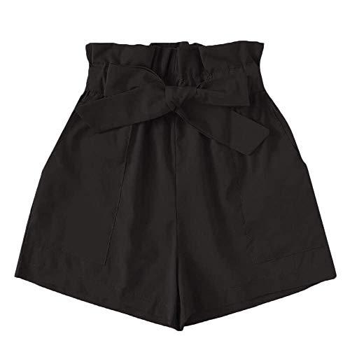 Xmiral Shorts Damen Hot Pants Baggy Latzhose mit Tasche Gürtel Elastische Hohe Taille Freizeit Relaxed Turnhose Sporthose Jogginghose(Schwarz,XL)