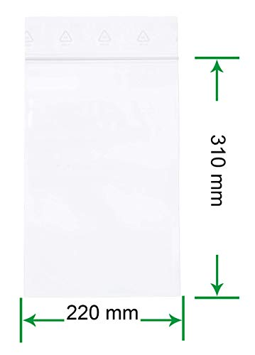 HeiZip 100 x Druckverschlussbeutel 220 x 310 mm DIN A4, 90 mµ/MY (extra stark), Transparent, Unbedruckt, Wiederverschliessbar, Lebensmittelecht