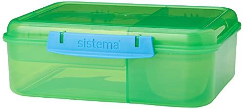 Sistema 41690 Bento Lunch Box with Fruit/Yogurt Pot, 1.65 L - Assorted Colours