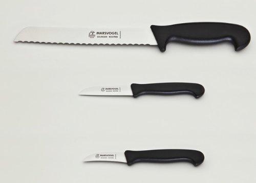 Marsvogel Solingen Set de 3 couteaux avec 1 couteau à pain et 2 couteaux de cuisine Manche en plastique Noir