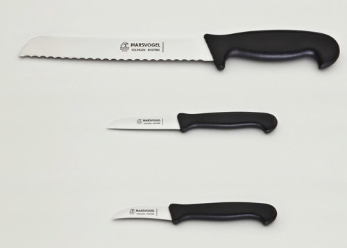 Messer Set 3-tlg. 1 x Brotmesser + 2 x Küchenmesser Kunststoffgriff schwarz Marsvogel Solingen
