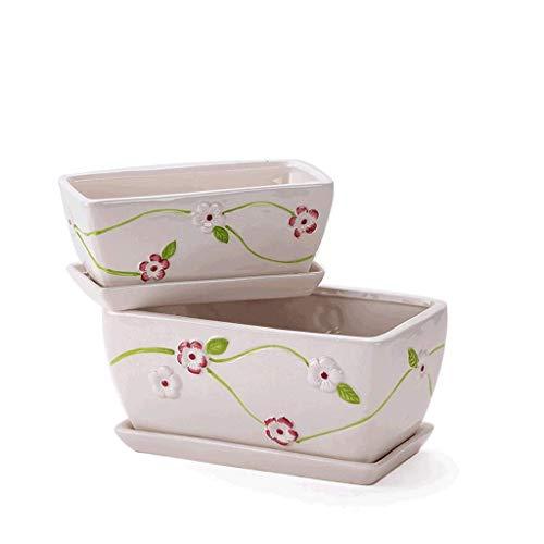 QWEA Plato para Plantas Macetas para el hogar en macetas suculentas de cerámica Blanca Minimalista Moderna de Dos Piezas Rectangulares Disponibles en una Variedad de Estilos Macetas para pl
