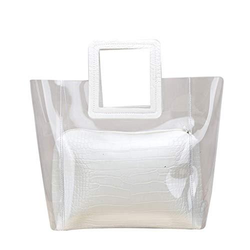 Generic Women Summer Beach PVC Transparent Handbag Tote Cosmetic Beach Bag Purse Messenger White