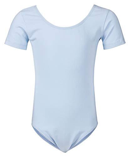 tanzmuster ® Ballettanzug Mädchen Kurzarm - Sally - (Größe 92-170) aus weichem Baumwollstoff Ballett Trikot Ballettbody in hellblau, Größe 140/146