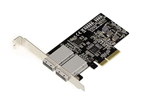 Kalea Informatique - Tarjeta controladora PCIe 2.0 4X SAS + SATA – 6 GB – 8 puertos externos SFF8088 – Chipset JMB575 JMB585