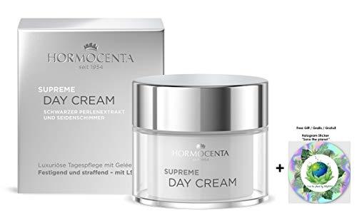 HORMOCENTA Supreme Day Cream - Luxuriöse Pflege mit Extrakt aus schwarzen Perlen, Gelée Royal und Seidenschimmerpartikeln, 50 mL (+ Gratis Hologram Sticker)