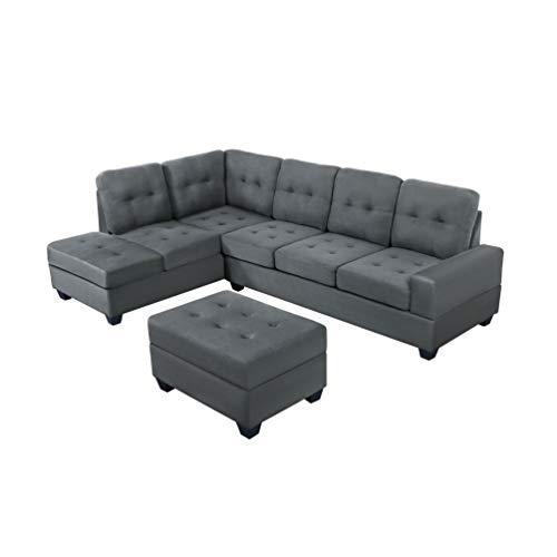 Yunbai Sofá conjuntos para sala de estar Sofá cama de tres asientos, tela moderna de lino, sofá en forma de L, sofá con convertible segmentado, sofá modular de 3 piezas, microfibra con alfombras de al