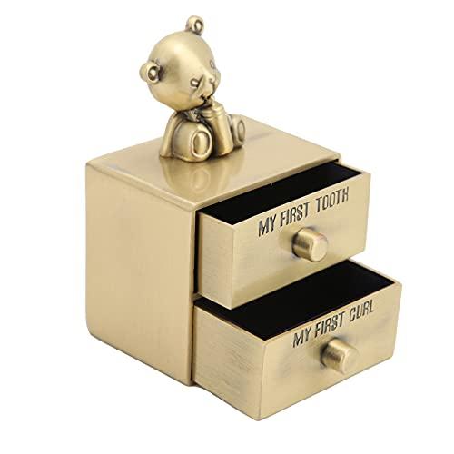 Caja para guardar los dientes para niños Bonita caja de recuerdos con forma de oso en forma de rizo de dientes Caja para guardar los dientes del bebé Organizador para guardar(Pátina verde)