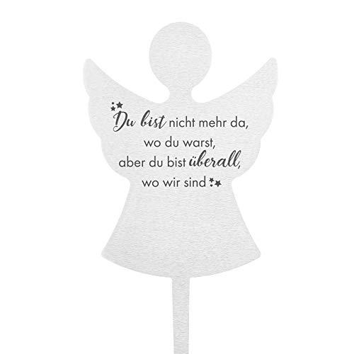Fritz Cox® Grabstecker Herz 'Du bist Nicht mehr da, wo du warst' aus wetterfestem Edelstahl (Engel)