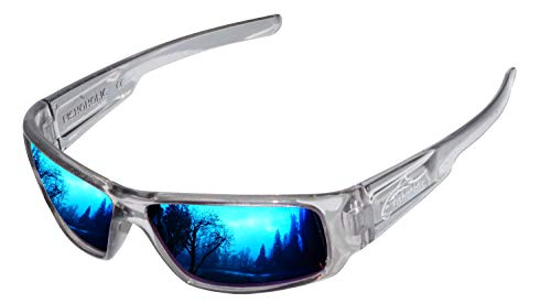 Fishoholic Polarized Fishing Sunglasses 5 Color Options w Case Pouch Gift UV400 (Ice, Blue Mirror / Amber lens)