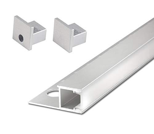 2,5 m FUCHS LED Fliesenschiene 12 mm Quadroprofil seitlich leuchtend LED Leiste für LED Streifen, inkl. Zubehör und Abdeckung (milchig weiss) zur gleichmäßigen Lichtstreuung