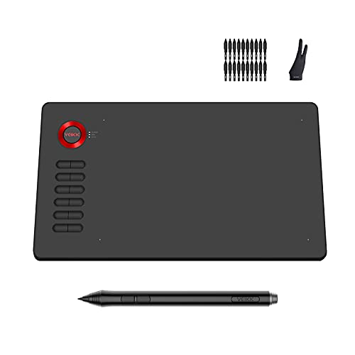VEIKK A15 Drawing Tablet with 12 Shortcut Keys and Tilt Function Battery-Free Stylus of 8192 Levels Pressure, 10x6 inch Graphics Tablet Support for Andriod, Linux,Windows and Mac OS