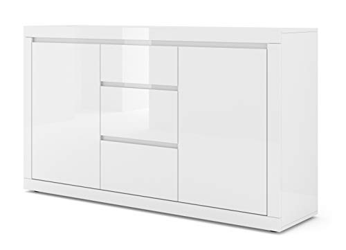 BIM Furniture Kommode Bello Bianco III 150 cm Sideboard Highboard Schrank Weiss mat/Weiss Hochglanz Zwei Regal, DREI Schubladen Italienische