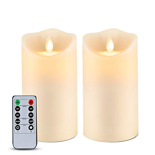 """Homemory 6"""" x 3.25"""" Outdoor Waterproof Flameless Candles, Flickering Moving Flame LED Candles, Battery Operated Candles with Remote and Timers, Ivory Frosted Plastic, Set of 2"""