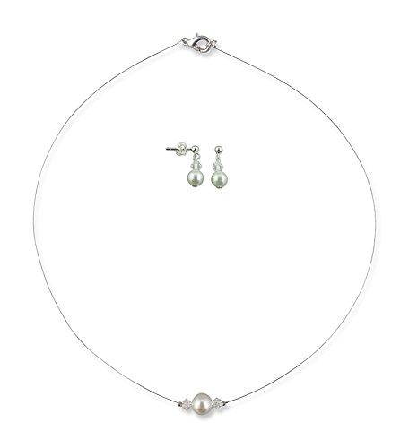 Rivelle Damen Brautschmuck Set creme Schmuckset Swarovski kristall Perlen Ohrringe Collier Kette Modeschmuck Hochzeit Geschenkbox